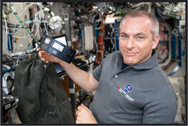 International Space Station U.S. National Lab's Expedition 59 crewmember David Saint-Jacques with the Massachusetts Institute of Technology's and TechShot, Inc's cartilage-bone-synovium tissue chips in space.