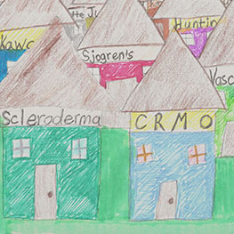 "A screenshot from the video ""In the Land of Rare Disease,"" showing a child's drawing of houses labeled with the names of rare diseases"