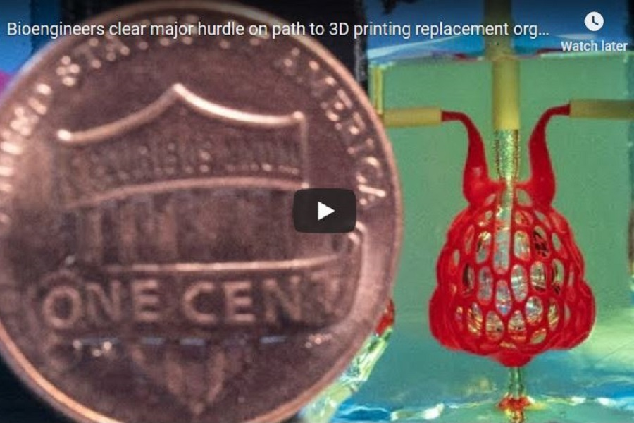 Screen capture of Rice University video on 3-D printing of replacement organs