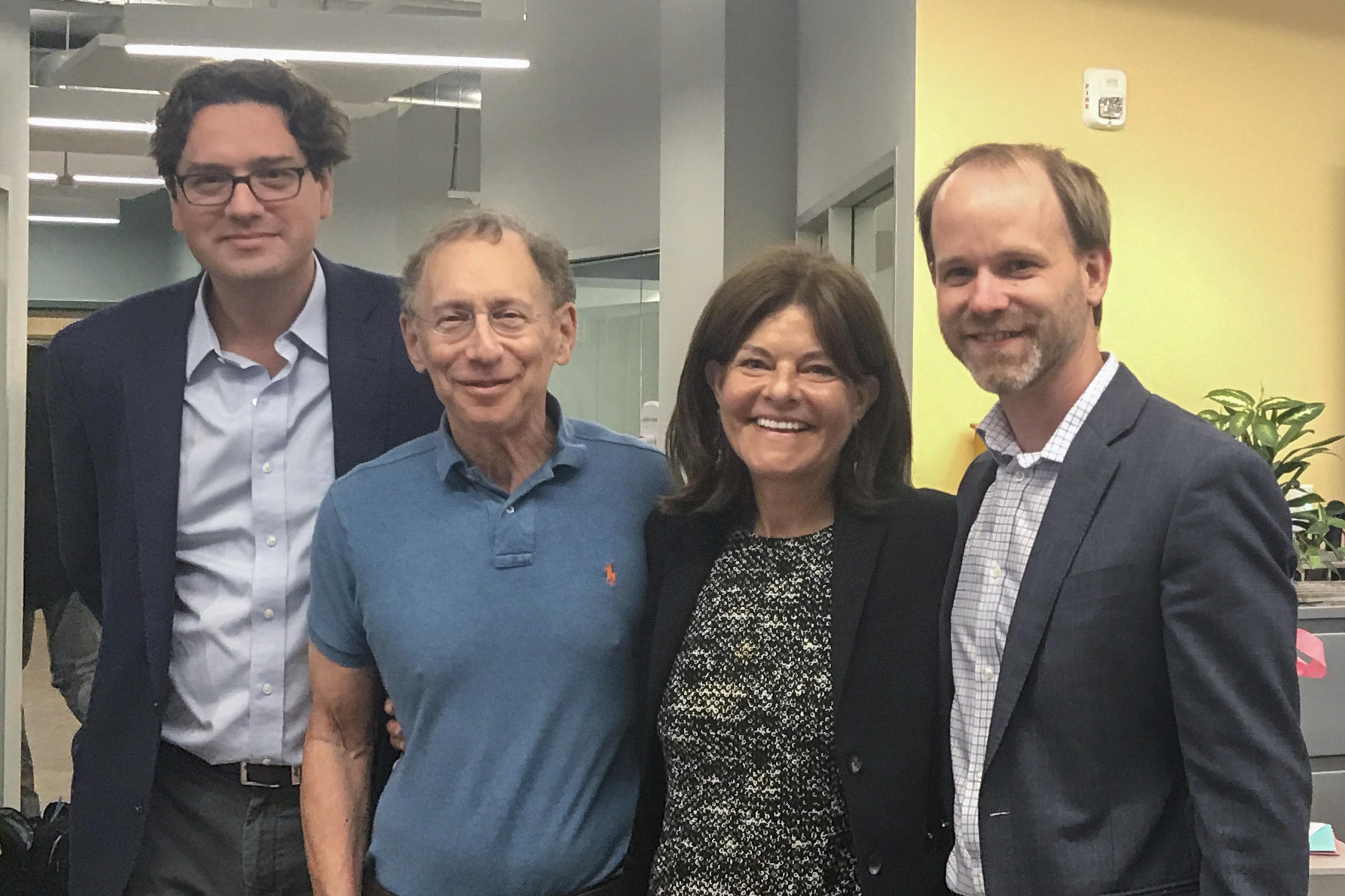 Lyndra's Co-Founders: Giovanni Traverso, Ph.D., Robert Langer, Sc.D., Amy Schulman and Andrew Bellinger, M.D., Ph.D. (Lyndra Therapeutics)