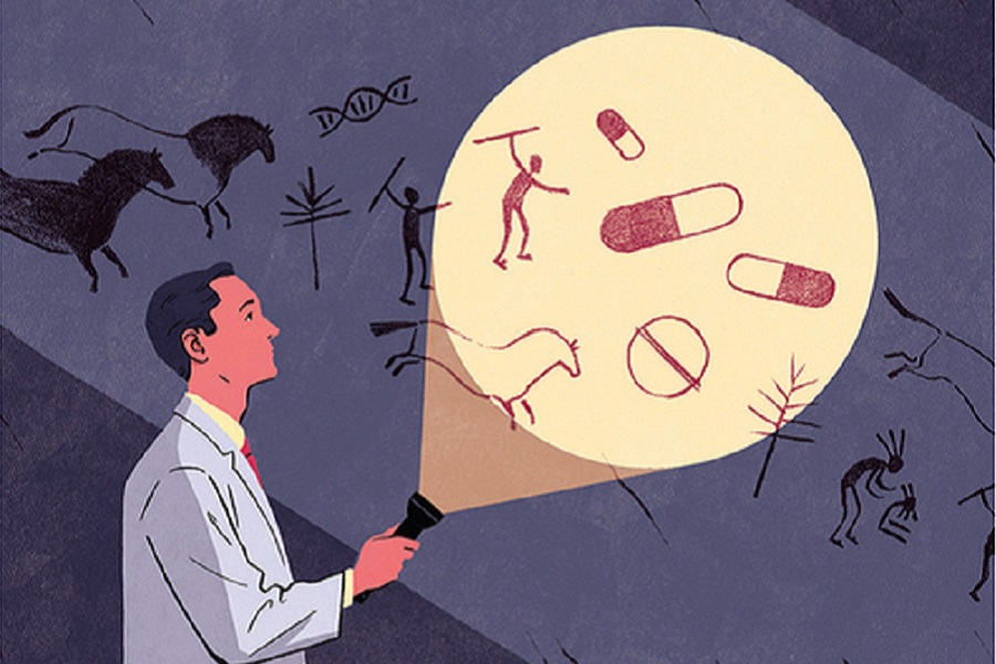 Illustration of a researcher shining a flashlight on a drawing of various animals, people and drug capsules
