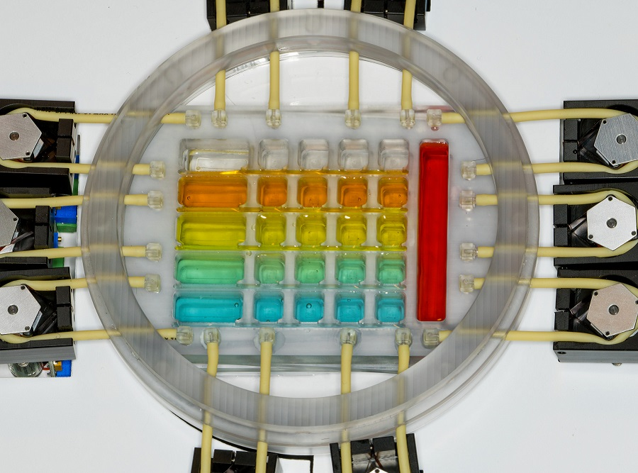 Five separate tissue systems (heart, liver, blood vessels, skin and cancer), each within its own custom-designed chamber, are shown on a single chip (colors denote different tissue types).