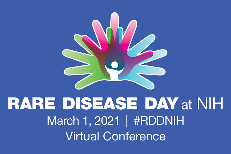 Rare Disease Day at NIH logo for the virtual conference, which will be held on March 1, 2021.