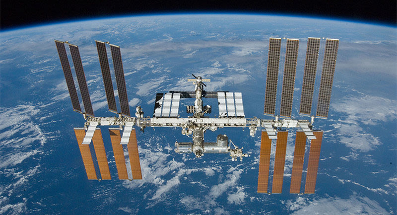 Photo of space station in orbit.