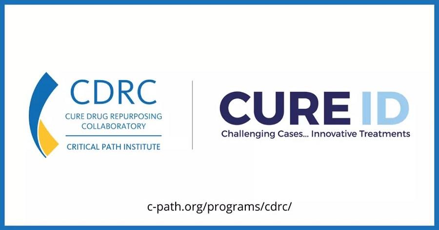 Critical Path Institute logo, Cure Drug Repurposing Laboratory, CURE ID graphic