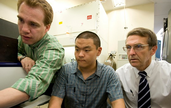Hugh Sampson, M.D. (left), Steven Woo (center) and Wayne Shreffler, M.D., Ph.D.