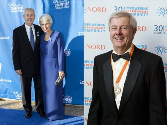 "At left, Groft and his wife Jan at the Global Genes | RARE Project Tribute to Champions of Hope Awards Ceremony in September 2013; at right, Groft received the Medal of Honor for ""Vision and Pioneering Guidance"" at the National Organization for Rare Disorders' 30th Anniversary Celebration in May 2013."