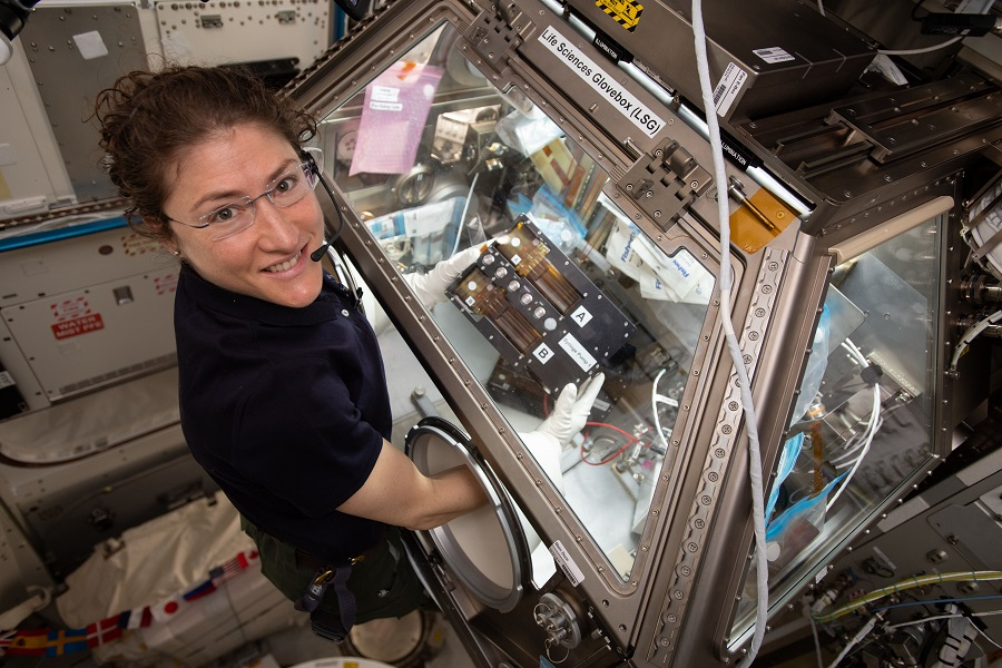 NASA astronaut Christina Koch assists with the kidney tissue chip project on board the International Space Station.