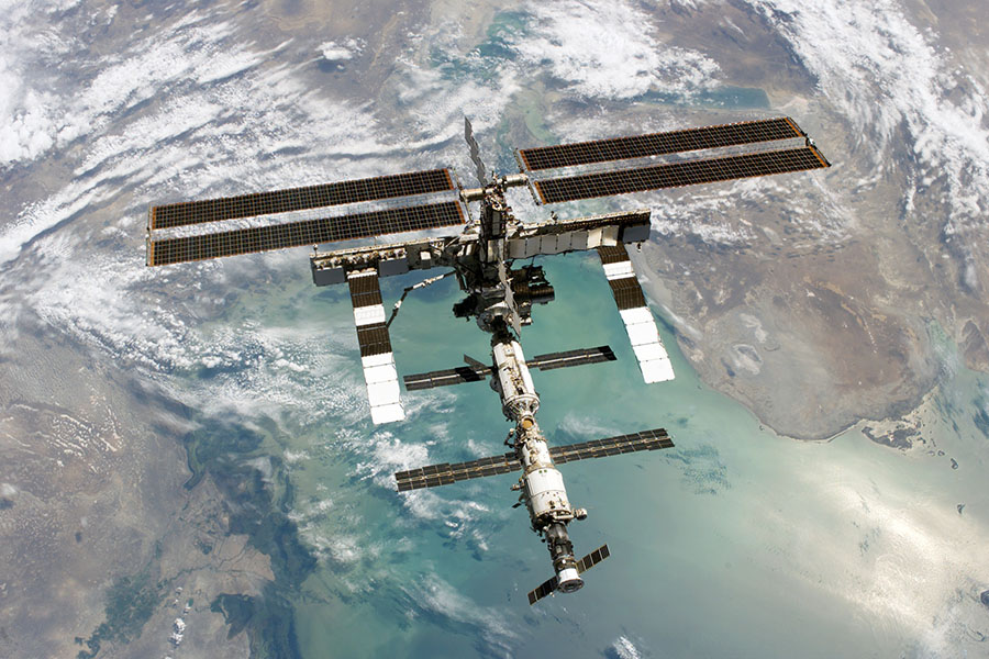 The International Space Station with Earth in the background