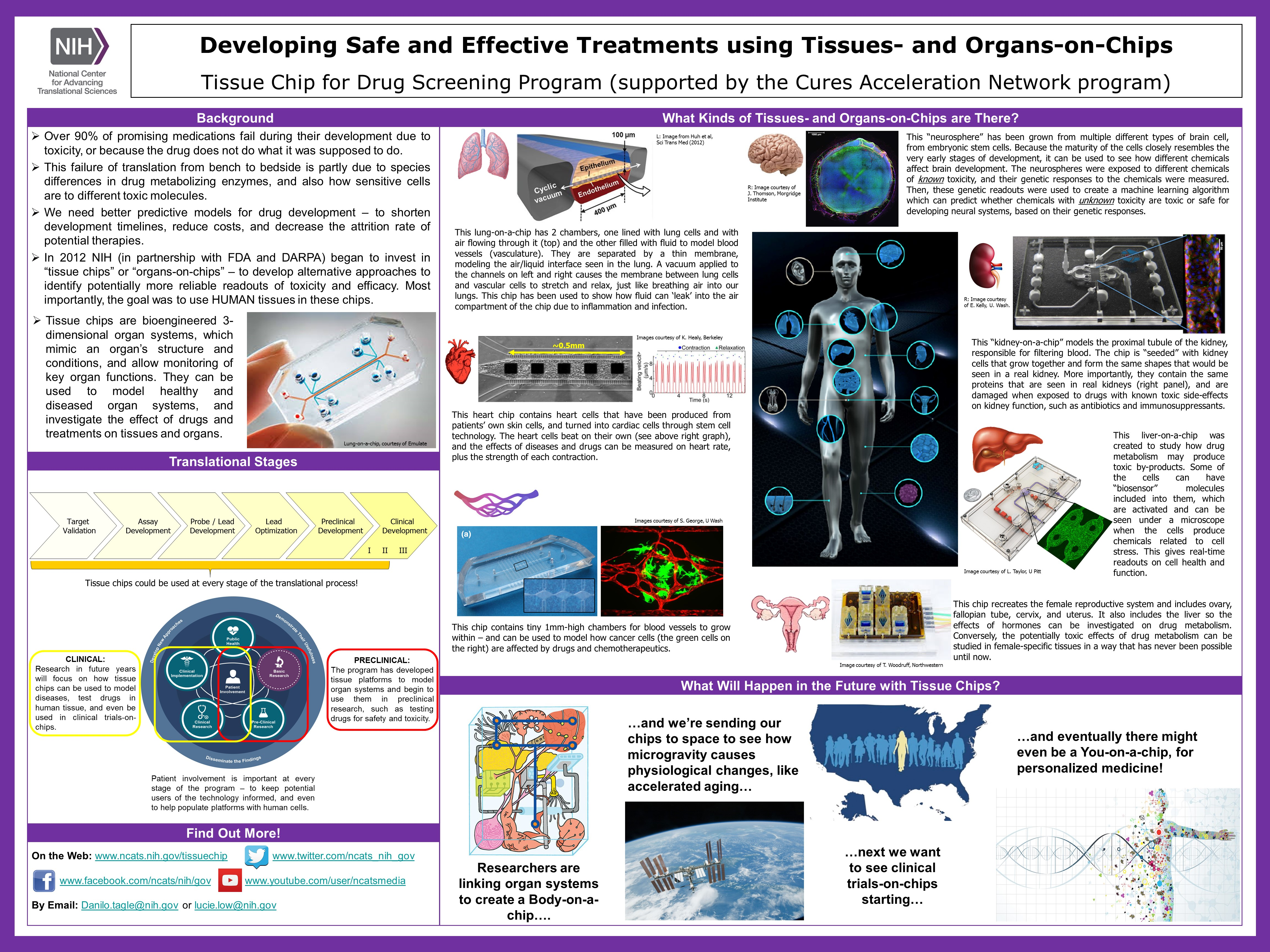 This NCATS Day poster provides background on the Tissue Chip for Drug Screening program, including goals, where it falls within the path of drug and therapeutics development and the translational science spectrum, how patients and advocates can get involved, and how NCATS addresses scientific and operational challenges.