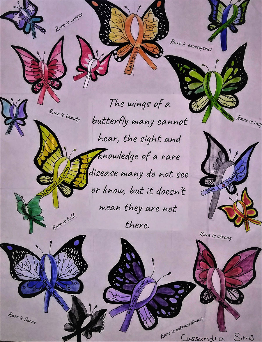 "Drawings of butterflies whose bodies are ribbons labeled with rare diseases. Text reads, ""The wings of a butterfly many cannot hear, the sight and knowledge of a rare disease many do not see or know, but it doesn't mean they are not there."" Text interspersed with the butterflies reads, ""Rare is unique. Rare is courageous. Rare is beauty. Rare is bold. Rare is strong. Rare is fierce. Rare is extraordinary."""