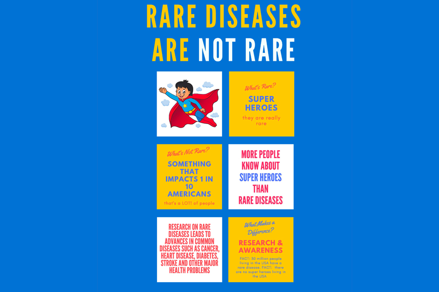 "Poster with an image of a superhero flying. Poster reads: ""Rare diseases are not rare. What's rare? Superheroes."""