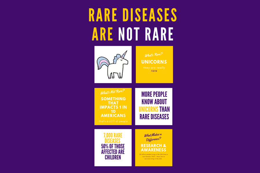 "Poster with an image of a unicorn. Poster reads: ""Rare diseases are not rare. What's rare? Unicorns."""