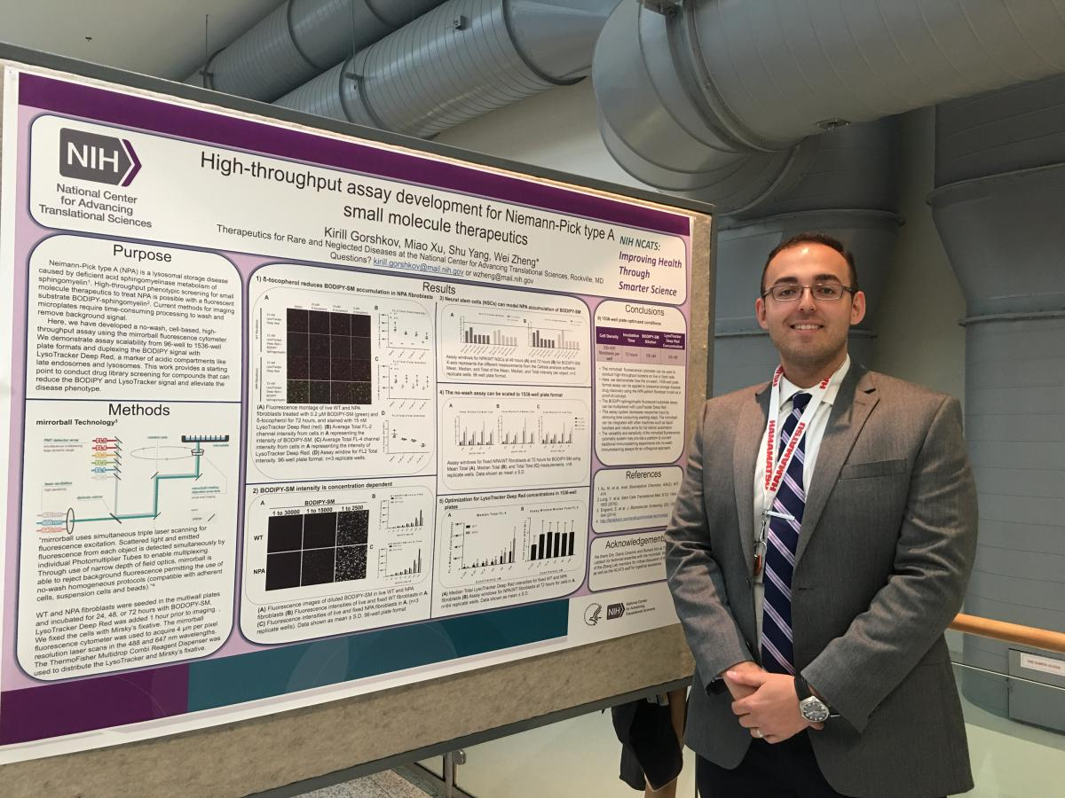 NCATS postdoctoral fellow Kirill Gorshkov presents an NCATS poster at the 2017 NIH Research Festival.