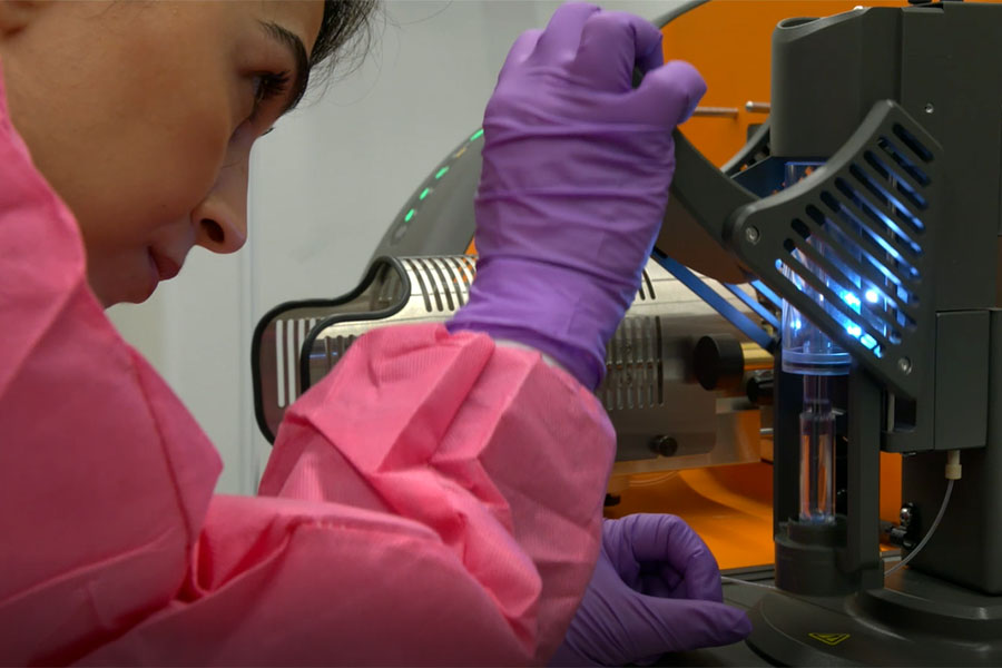 A scientist works in the Stem Cell Translation Laboratory at NCATS.