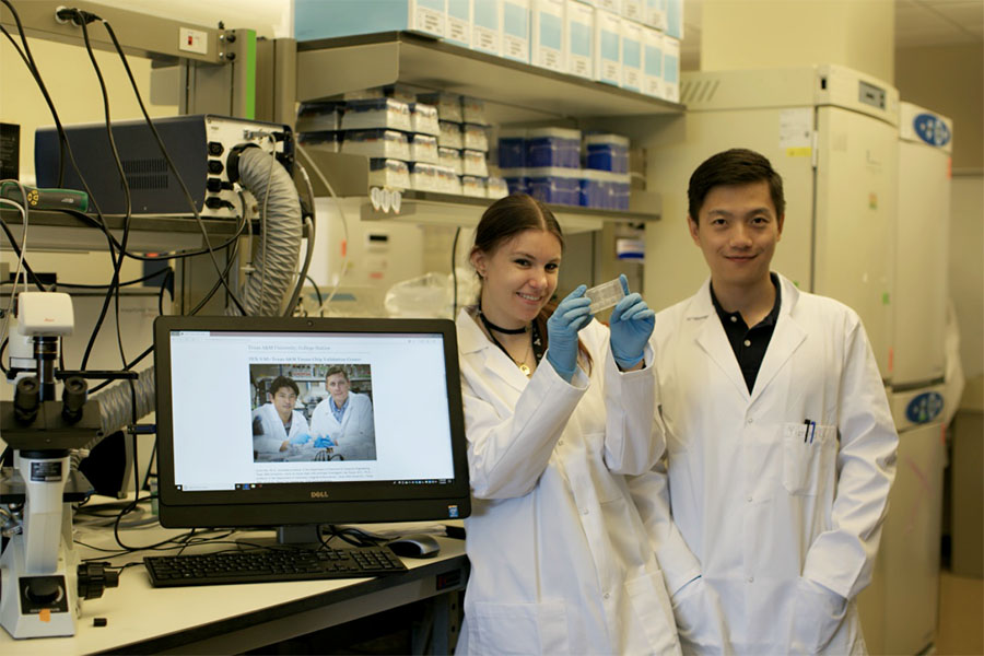 Researchers holding tissuechip in lab
