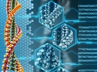 Graphic of DNA and associated code