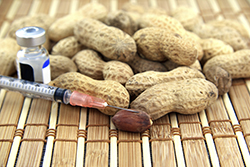 Peanuts with a liquid allergen and syringe