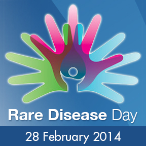 rare disease day logo of intertwined hands